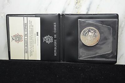 1970 Guinea Silver 200 Francs Proof Coin Km#10 John & Robert Kennedy