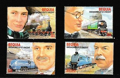 #805=Bequia (St. Vincent) MNH set of trains and engineers