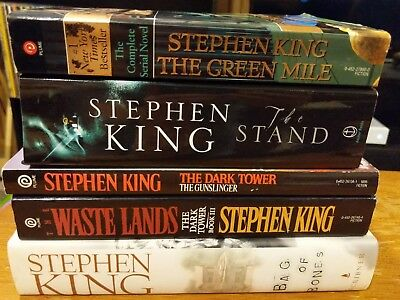 Lot of 5 Stephen King books 4 Paperback 1 Hardcover Stand Green Mile Dark Tower