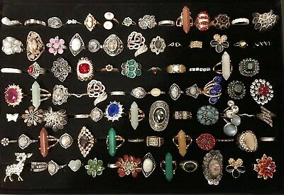 Huge Vintage To Now Junk Drawer Jewelry Lot 90 Rings Estate Rhinestone Untested9