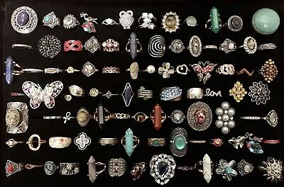 Huge Vintage To Now Junk Drawer Jewelry Lot 90 Rings Estate Rhinestone Untested4
