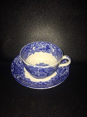 Original Antique Abbey George Jones & Sons Blue & White Tea Cup & Saucer