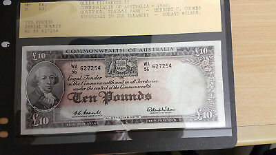 1960 Ten Pound Pre-Decimal Banknote Coombs/wilson Signatures..