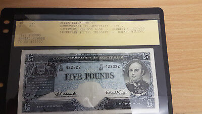 1960 FIVE POUND PRE-DECIMAL BANKNOTE..COOMBS/WILSON SIGNATURES in EF.