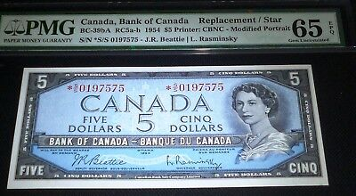 ASTERISK REPLACEMENT /STAR S/S prefix  BANK OF CANADA 1954 $5 PMG 65 EPQ