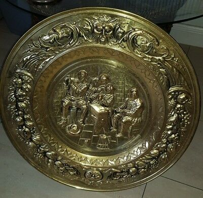 Stunning Antique Vintage Large Brass Charger/Plate