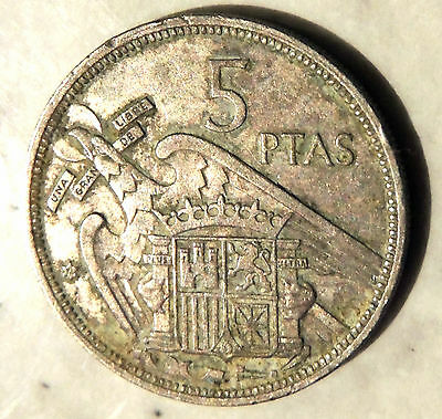 Spain - Five Ptas Coin -1957 - Reasonable Cond For Age - Deceased Estate