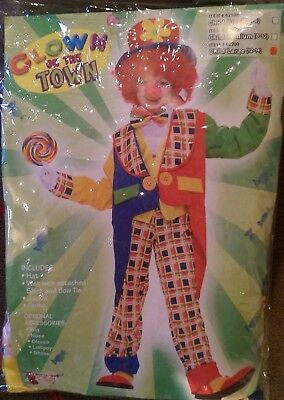 Complete Boys Clown Circus Costume + Wig - Gloves - Nose and Bonus Shoe Covers