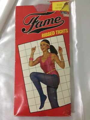 💖new Vintage Fame Ribbed Tights Rose Cd Mids  New In Damaged Packet