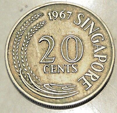 Singapore - Twenty Cent Coin - 1967 - Reasonable Cond For Age