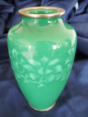 Japanese Ando Green Wireless Cloisonne Vase 6.25""