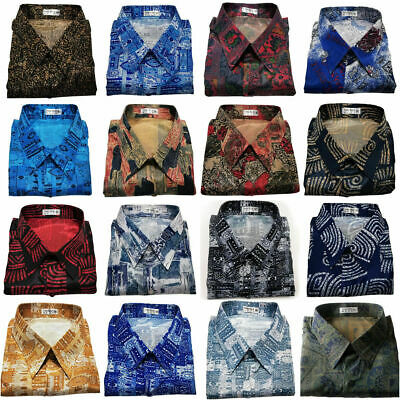 Men's Thai Silk Long Sleeve Shirt Casual Paisley Pattern Hawaiian / Small to 3XL