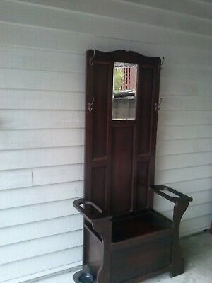 Antique Silky Oak Art Deco Hall Stand