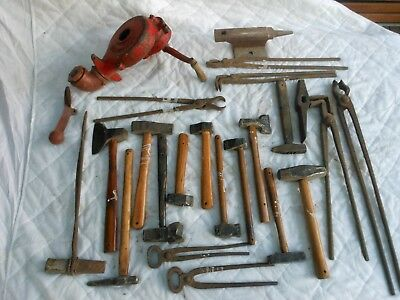 Blacksmith, Hammers,Tongs,Anvil and Forge Blower
