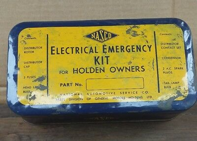 Early Holden Owners Nasco Electrical Emergency Tin Kit & Contents Nos Parts Rare