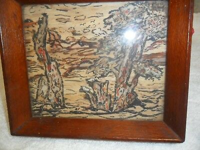 Rare Bark Painting Over 80 Years Old By Om While On Walkabout In Australia