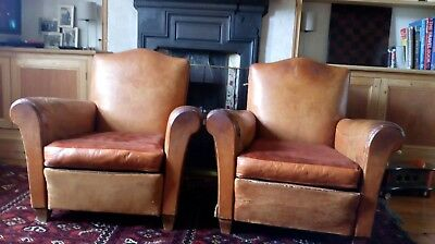 Pair of Vintage Antique Art-Deco Brown French Leather Club Armchairs