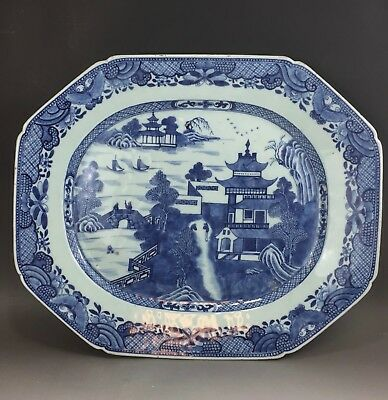 A huge/very fine Chinese 18C blue&white platter-Qianlong
