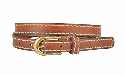 Womens Brown Skinny Leather Belt with Side Sitchings M