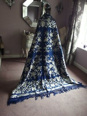 antique woven embroidered silk piano shawl Canton textile