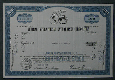 Admiral International Enterprises Corporation 1969 100 Shares .