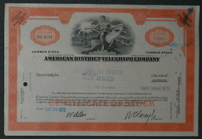 American District Telegraph Company 1972 500 Shares .