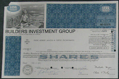 Builders Investment Group 1972 10 Shares .