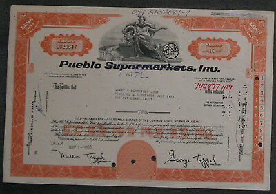 Pueblo Supermatkets, Inc. 1966 10 Shares .