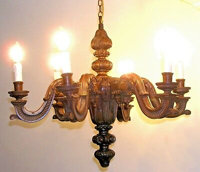 Stunning Hand Carved Antique Oak Chandelier - 6 Branch - Good Working Order