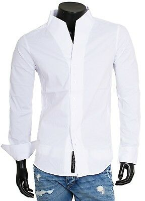 Carisma Party Men's Shirt Long Sleeve Stand up Collar Slim Fit H-902 White
