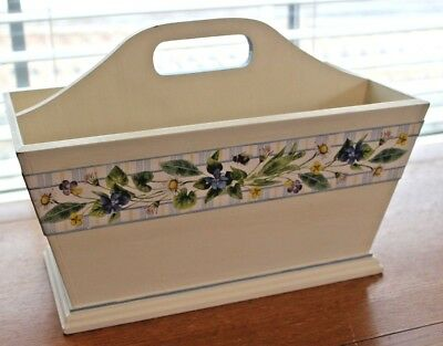"MARJOLEIN BASTIN White Handled Box w 3 Compartments Approx 10""H,12""L,7""Deep"