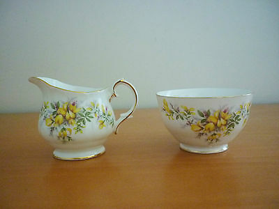 Vintage Duchess Laburnum Small Creamer/milk Jug & Open Sugar Bowl Set England