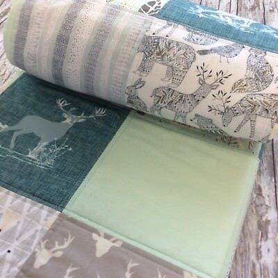 Baby Boy Quilt Woodland Bears Stags Mint  Cot Quilt Stars Cotton Fabric
