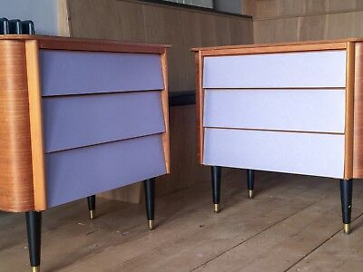 Mid century rare pair of 1950s Homesworthy oak & lilac formica chest of drawers