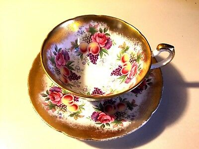 Beautiful Gorgeous Paragon Fruit & Flowers Cup & Saucer By Appointment T Queen