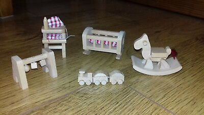 Early Learning Centre Wooden Dolls House Furniture Nursery / Babys Room Set