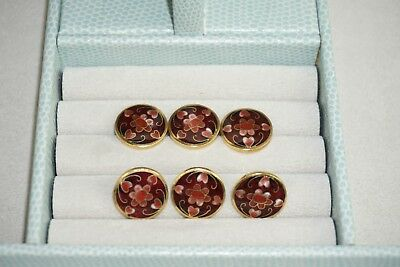 Counter Enamel Cloisonné Buttons Rust Red Pinks Hand Painted Flower Brass