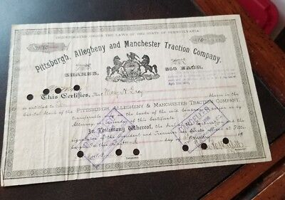 Pittsburgh Allegheny & Manchester Traction Pennsylvania 1891 Stock Certificate