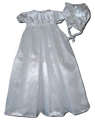 Kinder Baby Girls Traditional Satin/Tuille Twinkle Christening Gown & Bonnet
