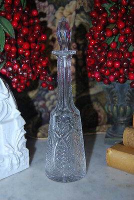 Wonderful Old Hand Cut Medium Size Victorian Crystal Liquor Cabinet Decanter