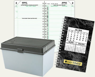 DAY-TIMER Refill Two Page Per Day 2018, Storage Box, Monthly refill cards + MORE