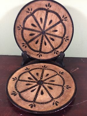 2 Wood Plates Hand Made and Decorated-India-Decorative Use Only