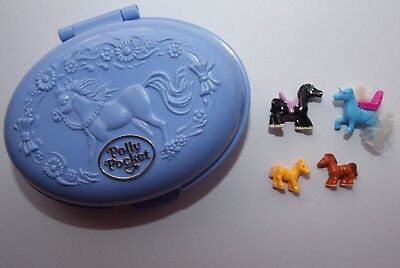 Polly Pocket Vintage Horse Themed Compact Dated 1995 & 3 Ponies& Unicorn!!