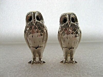 Novelty Owl Solid Silver Salt & Pepper Pots.