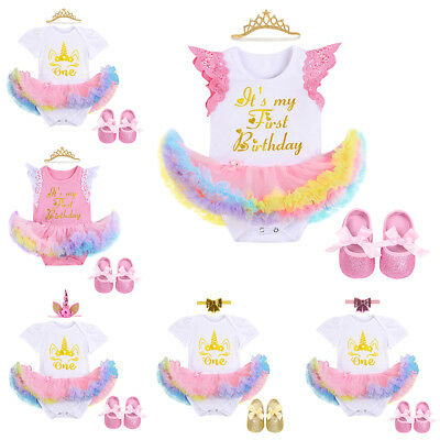 3pcs Baby Girls 1st Birthday Party Unicorn Romper Dress Headband Shoes Outfits