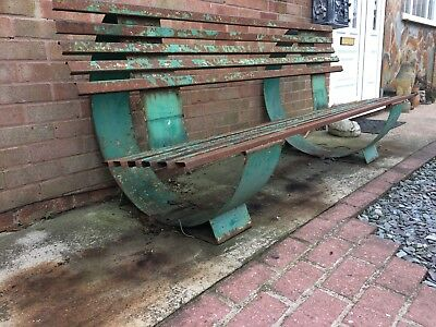 Vintage Deco French Steel Bench
