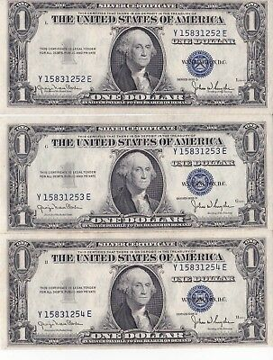 5) 1935 $1 Uncirculated Silver Certificates Sequential Serial Numbers