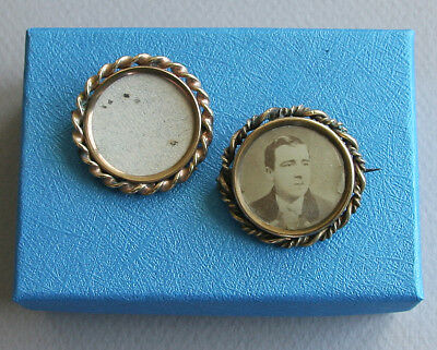Lot of 2 Antique Victorian Round Gold Photo Locket Brooch Pin Pins