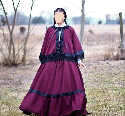 Civil War Reenactment Victorian 5 piece Cape Sash Skirt Blouse Snood