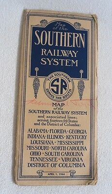 Alte Eisenbahn Karte - Map of Southern Railway System - USA April 1944